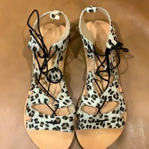 New Minelli Leopard Calf Hair Lace Ankle Sandal